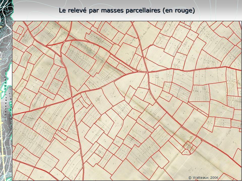 Le relevé par masses parcellaires (en rouge) © Watteaux 2006