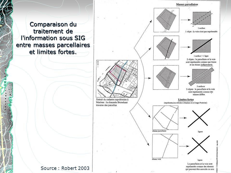 Comparaison du traitement de l'information sous SIG entre masses parcellaires et limites fortes. Source : Robert 2003