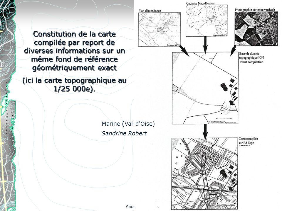 Constitution de la carte compilée par report de diverses informations sur un même fond de référence géométriquement exact (ici la carte topographique