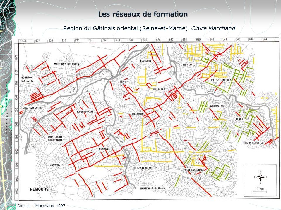 Région du Gâtinais oriental (Seine-et-Marne). Claire Marchand Les réseaux de formation Source : Marchand 1997