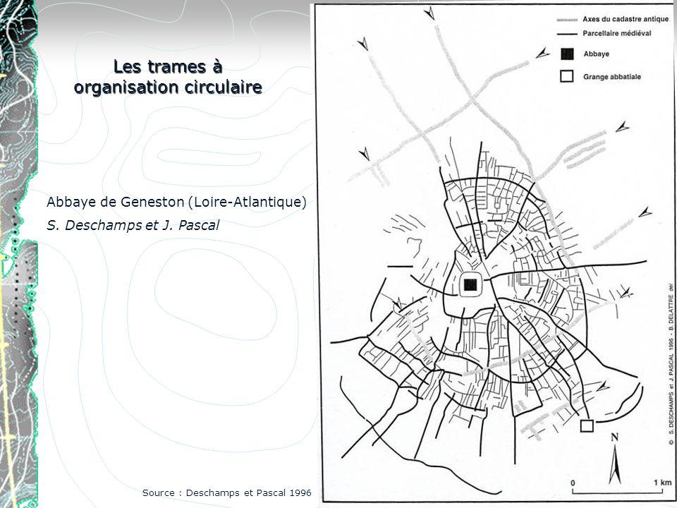 Abbaye de Geneston (Loire-Atlantique) S. Deschamps et J. Pascal Les trames à organisation circulaire Source : Deschamps et Pascal 1996