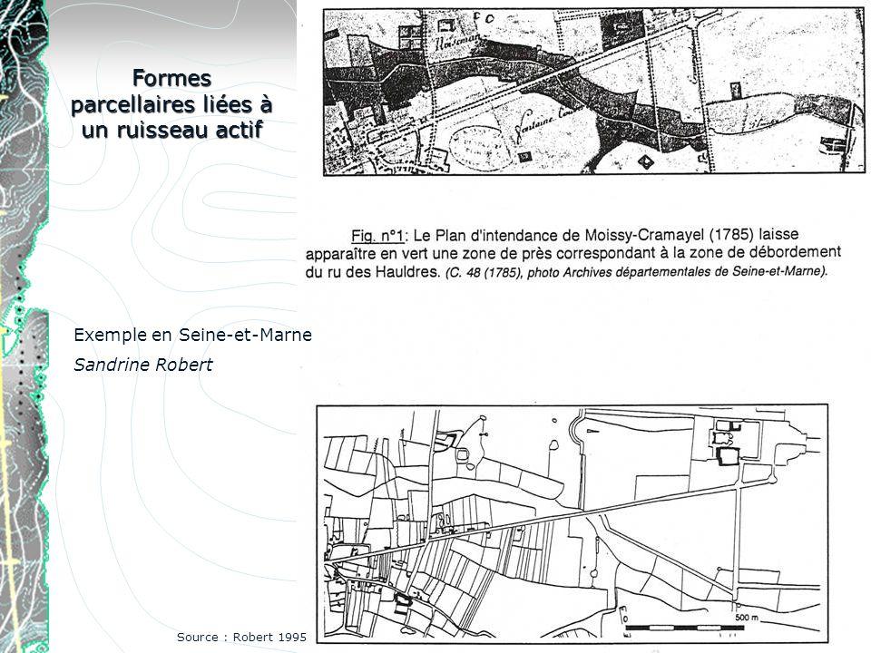 Formes parcellaires liées à un ruisseau actif Exemple en Seine-et-Marne Sandrine Robert Source : Robert 1995