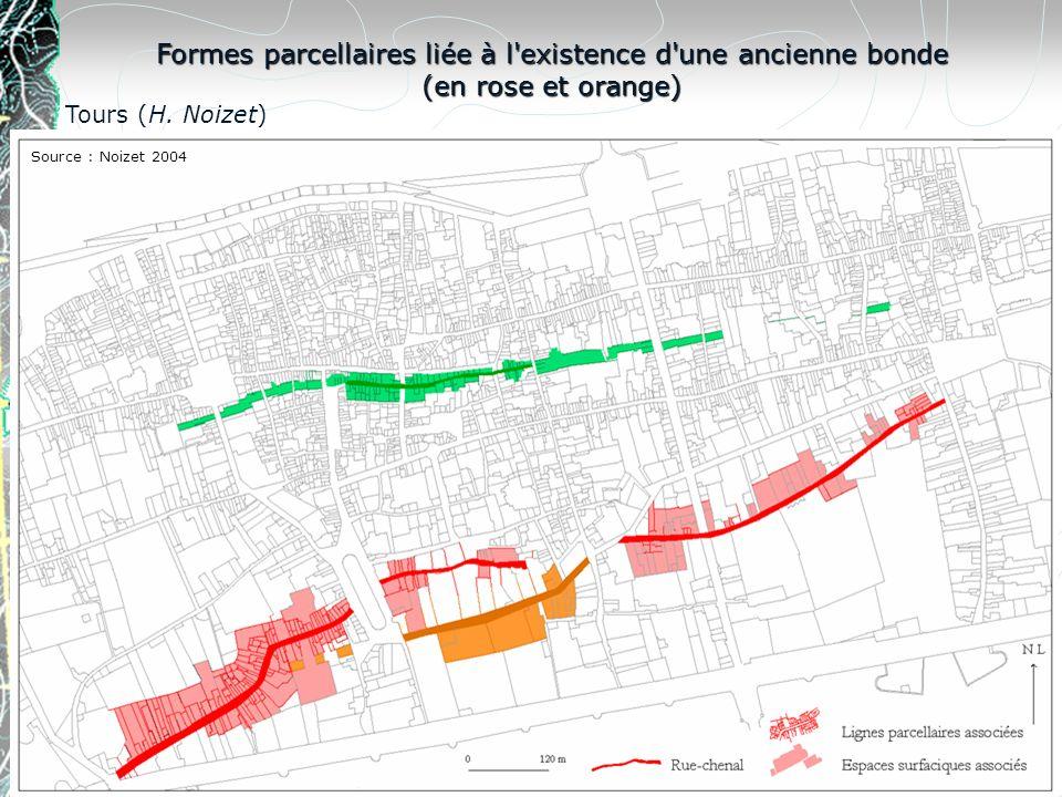 Formes parcellaires liée à l'existence d'une ancienne bonde (en rose et orange) Tours (H. Noizet) Source : Noizet 2004