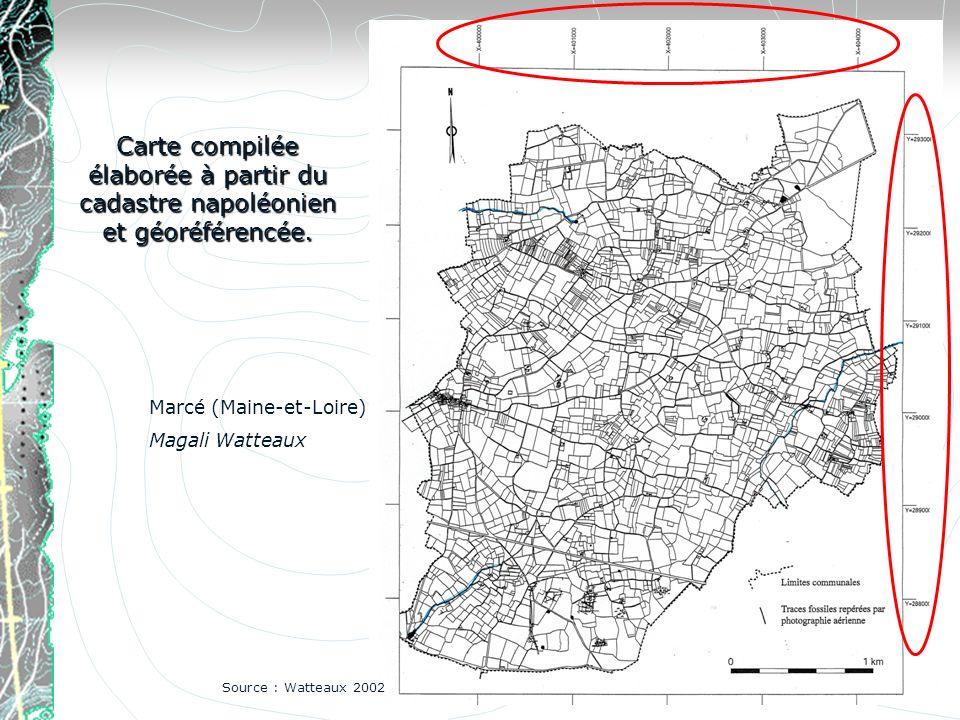 Carte compilée élaborée à partir du cadastre napoléonien et géoréférencée. Source : Watteaux 2002 Marcé (Maine-et-Loire) Magali Watteaux