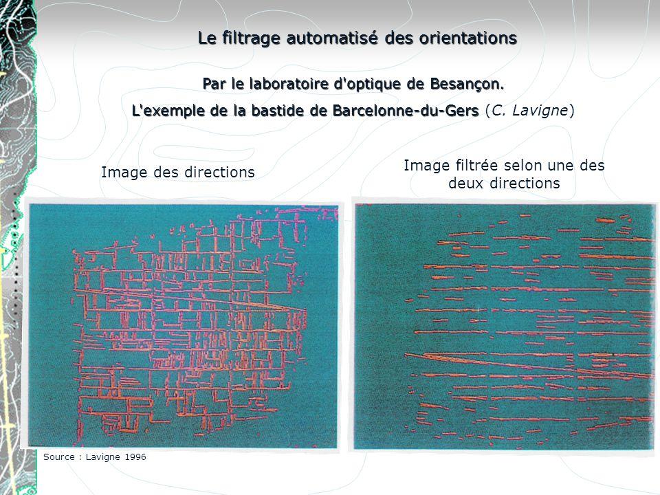Image des directions Image filtrée selon une des deux directions Le filtrage automatisé des orientations Par le laboratoire d'optique de Besançon. L'e