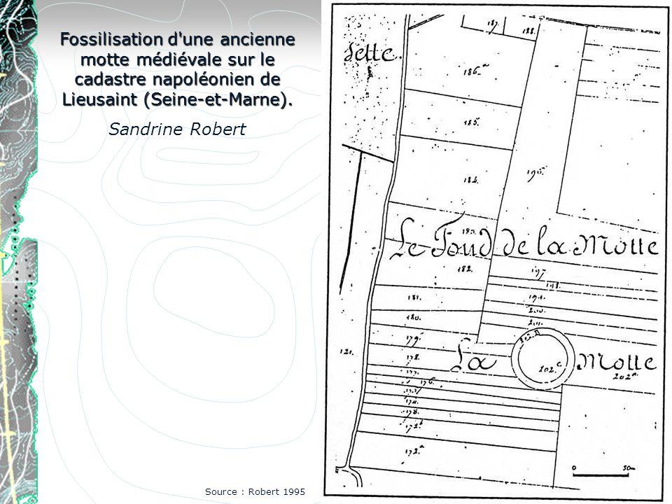 Fossilisation d'une ancienne motte médiévale sur le cadastre napoléonien de Lieusaint (Seine-et-Marne). Sandrine Robert Source : Robert 1995