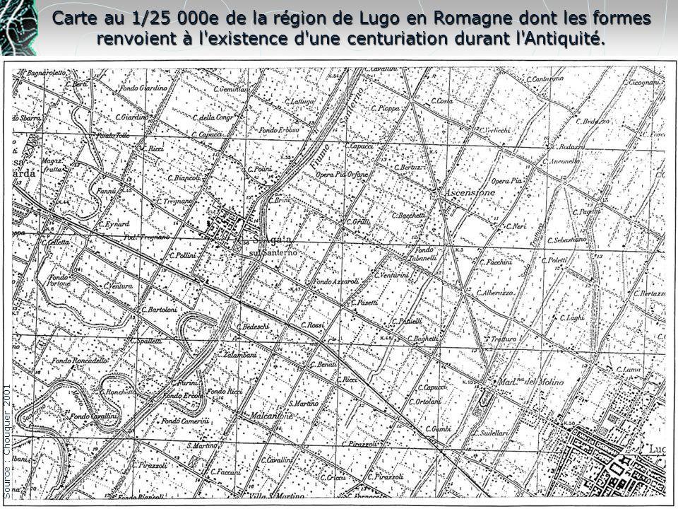 Carte au 1/25 000e de la région de Lugo en Romagne dont les formes renvoient à l'existence d'une centuriation durant l'Antiquité. Source : Chouquer 20