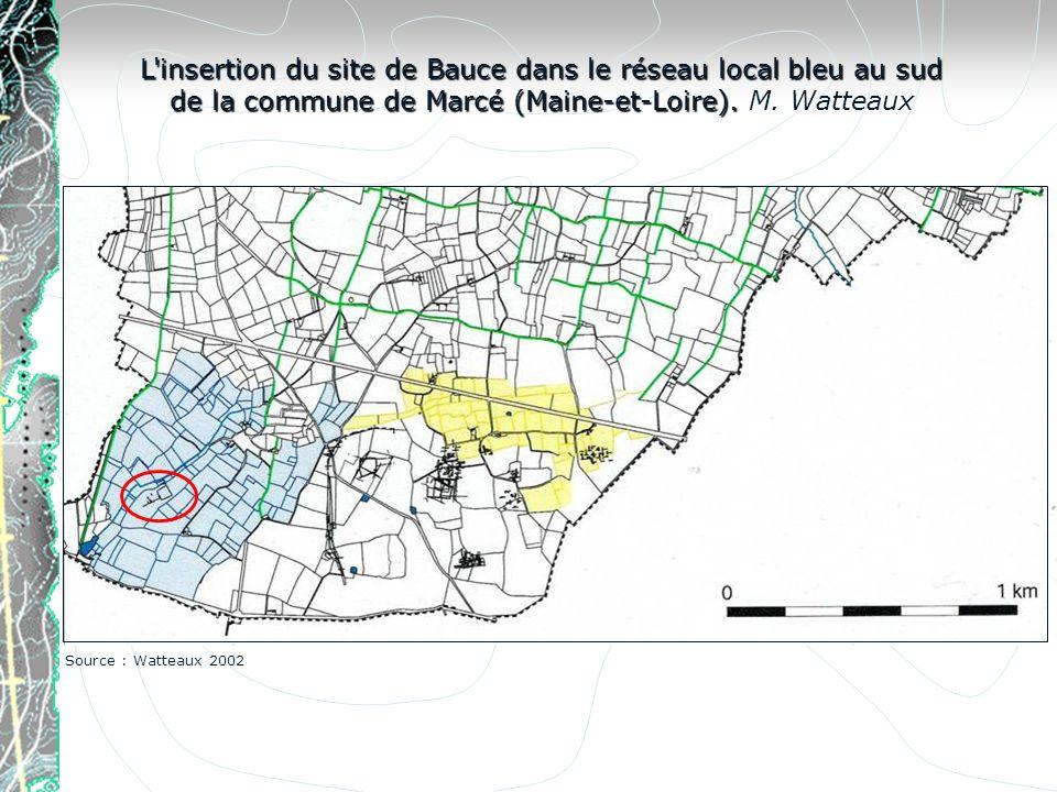 L'insertion du site de Bauce dans le réseau local bleu au sud de la commune de Marcé (Maine-et-Loire). L'insertion du site de Bauce dans le réseau loc