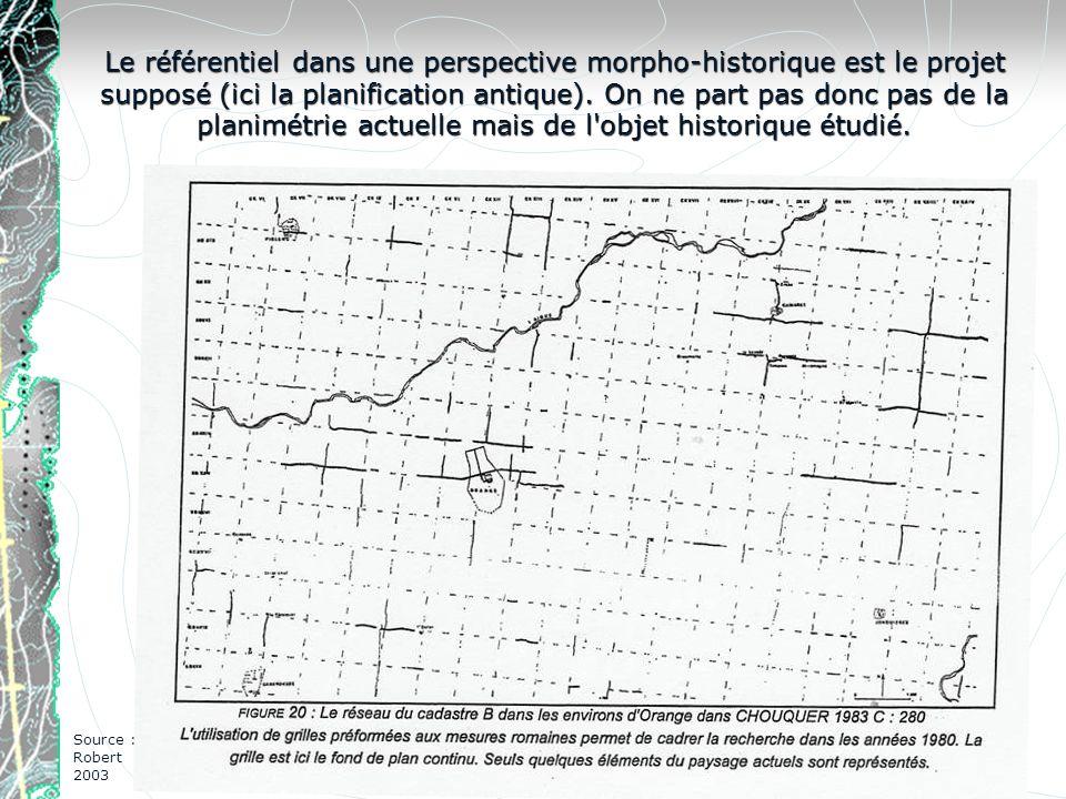 Le référentiel dans une perspective morpho-historique est le projet supposé (ici la planification antique). On ne part pas donc pas de la planimétrie
