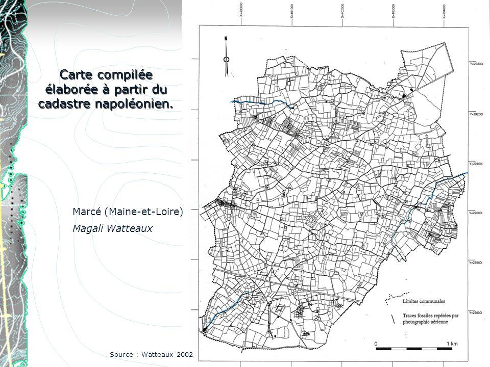 Carte compilée élaborée à partir du cadastre napoléonien. Source : Watteaux 2002 Marcé (Maine-et-Loire) Magali Watteaux