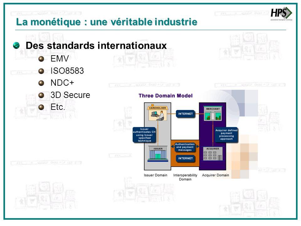 Des standards internationaux EMV ISO8583 NDC+ 3D Secure Etc. La monétique : une véritable industrie