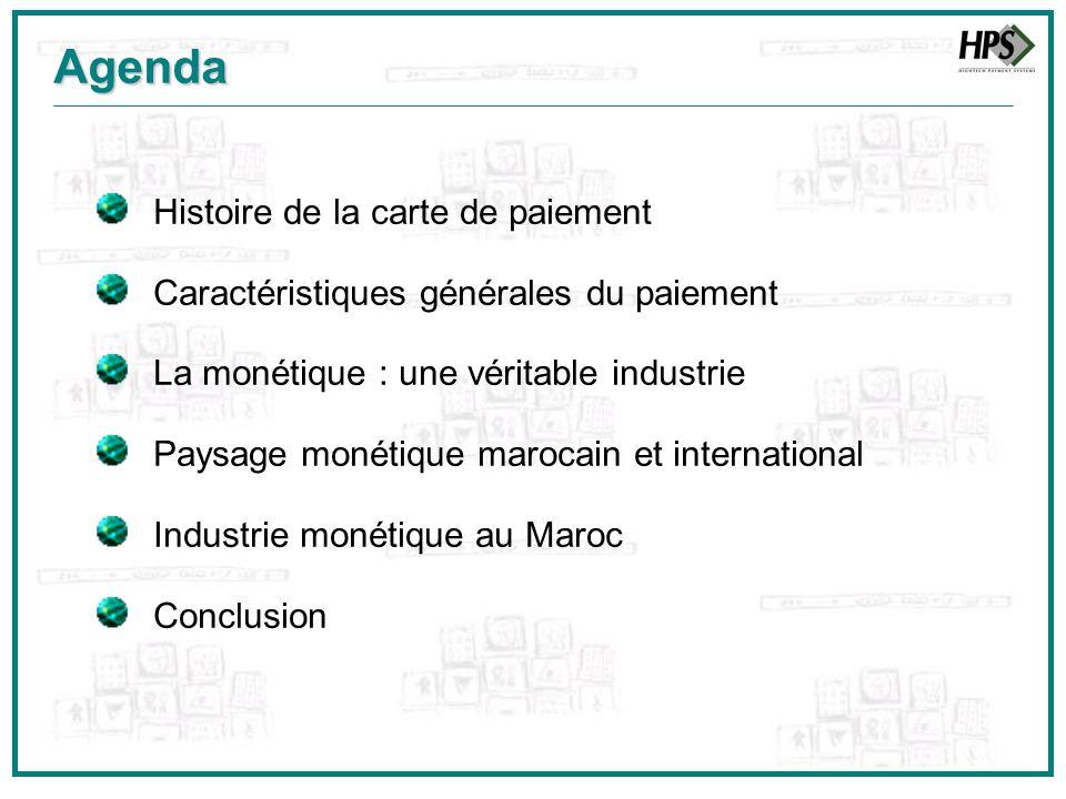 Agenda Histoire de la carte de paiement Caractéristiques générales du paiement La monétique : une véritable industrie Paysage monétique marocain et in