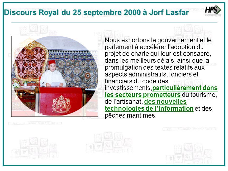 Discours Royal du 25 septembre 2000 à Jorf Lasfar Nous exhortons le gouvernement et le parlement à accélérer ladoption du projet de charte qui leur es