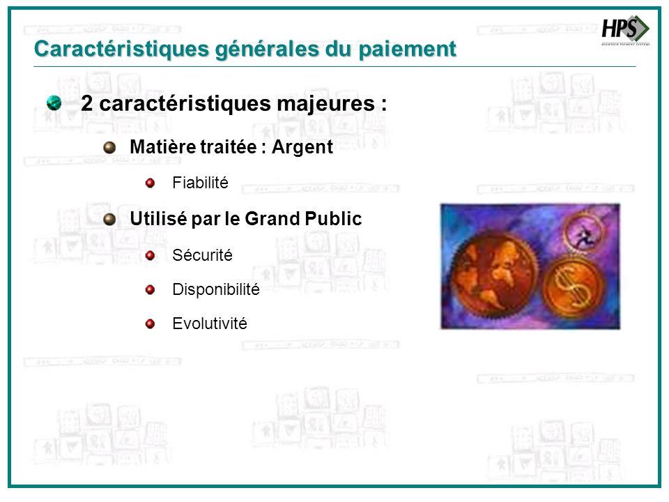2 caractéristiques majeures : Matière traitée : Argent Fiabilité Utilisé par le Grand Public Sécurité Disponibilité Evolutivité Caractéristiques génér