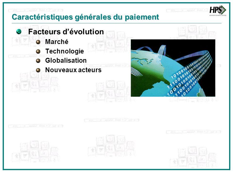 Facteurs dévolution Marché Technologie Globalisation Nouveaux acteurs Caractéristiques générales du paiement