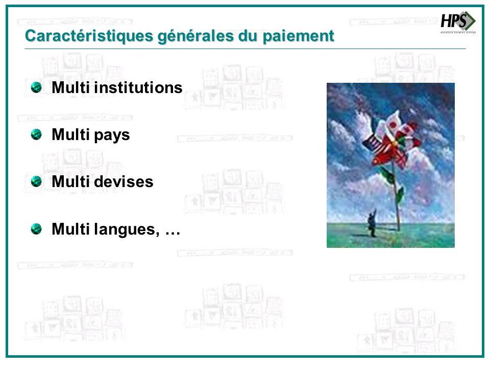 Multi institutions Multi pays Multi devises Multi langues, … Caractéristiques générales du paiement