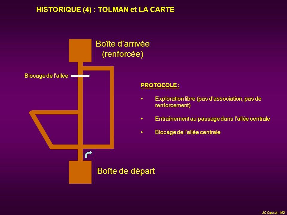 JC Cassel – M2 Boîte de départ Boîte darrivée (renforcée) PROTOCOLE : Exploration libre (pas dassociation, pas de renforcement) Entraînement au passag