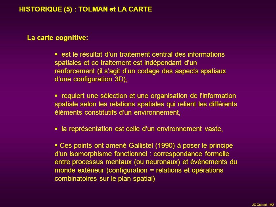 JC Cassel – M2 HISTORIQUE (5) : TOLMAN et LA CARTE La carte cognitive: est le résultat dun traitement central des informations spatiales et ce traitem