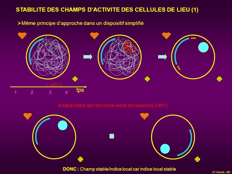 STABILITE DES CHAMPS DACTIVITE DES CELLULES DE LIEU (1) Même principe dapproche dans un dispositif simplifié tps 1 2 3 4 12 3 4 Animal retiré de lence