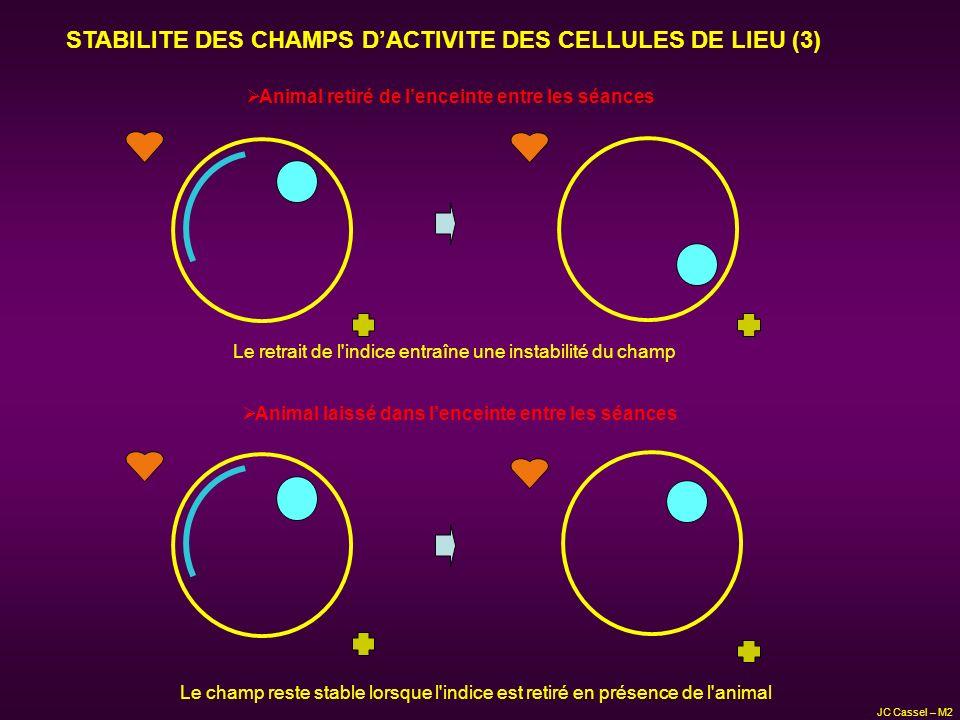 STABILITE DES CHAMPS DACTIVITE DES CELLULES DE LIEU (3) Animal retiré de lenceinte entre les séances Animal laissé dans lenceinte entre les séances Le