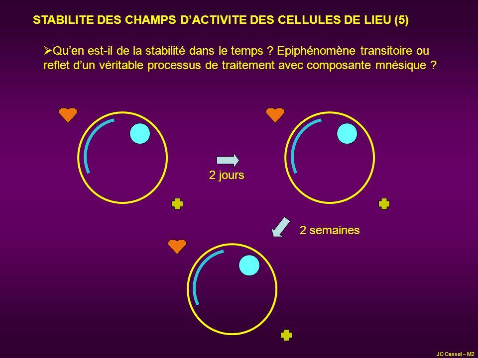 STABILITE DES CHAMPS DACTIVITE DES CELLULES DE LIEU (5) Quen est-il de la stabilité dans le temps ? Epiphénomène transitoire ou reflet dun véritable p