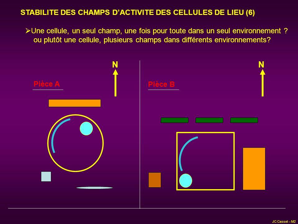 STABILITE DES CHAMPS DACTIVITE DES CELLULES DE LIEU (6) N Pièce A Une cellule, un seul champ, une fois pour toute dans un seul environnement ? ou plut