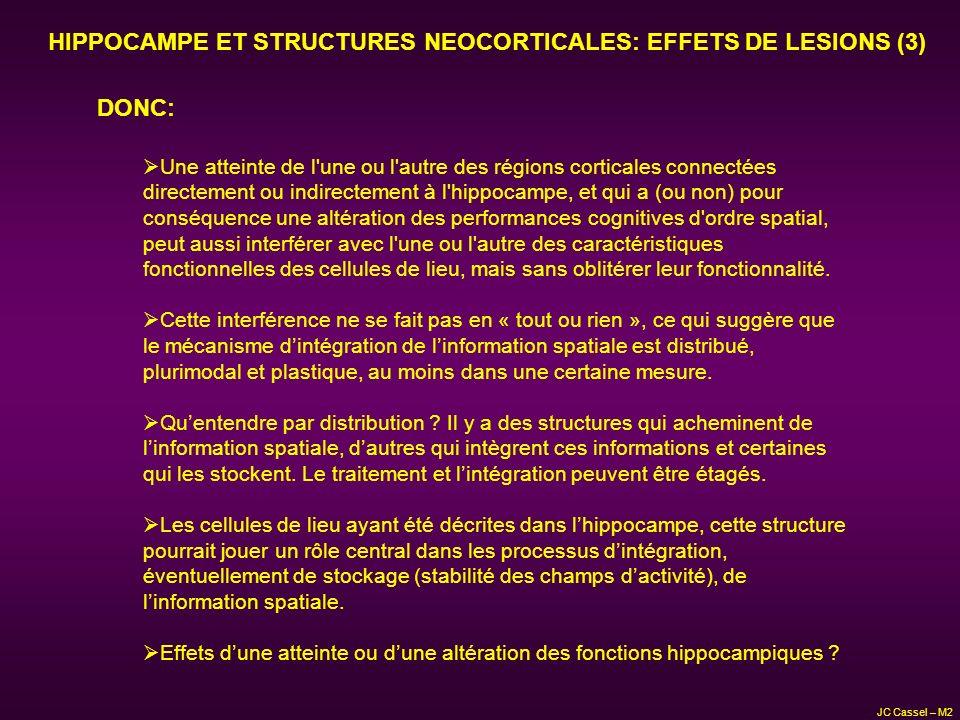 HIPPOCAMPE ET STRUCTURES NEOCORTICALES: EFFETS DE LESIONS (3) DONC: Une atteinte de l'une ou l'autre des régions corticales connectées directement ou