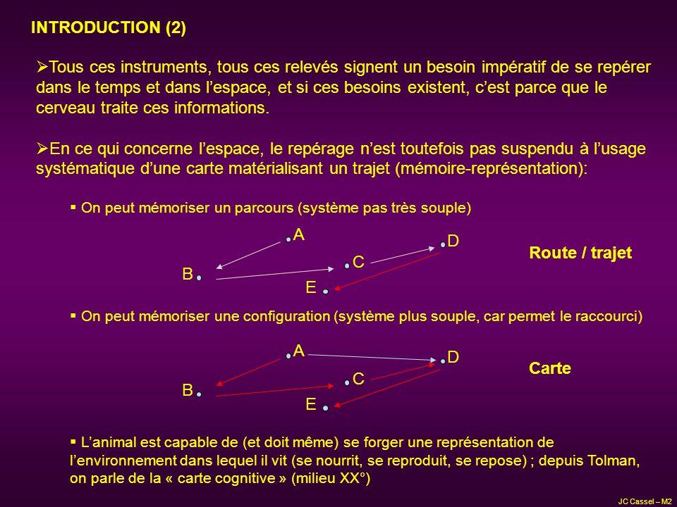 JC Cassel – M2 INTRODUCTION (3) Propriétés des routes par rapport aux cartes Route Carte Le stimulus final en est le but ; la route en est indissociable Rigides (effets des altérations) Elevée Peu Facile Faible La carte est construite indépendamment du but Très flexibles (bruit et altérations) Faible Enorme Difficile (codages multiples et complexes) On peut comparer des cartes, des lieus Motivation Flexibilité Vitesse Information Usage Manipulation