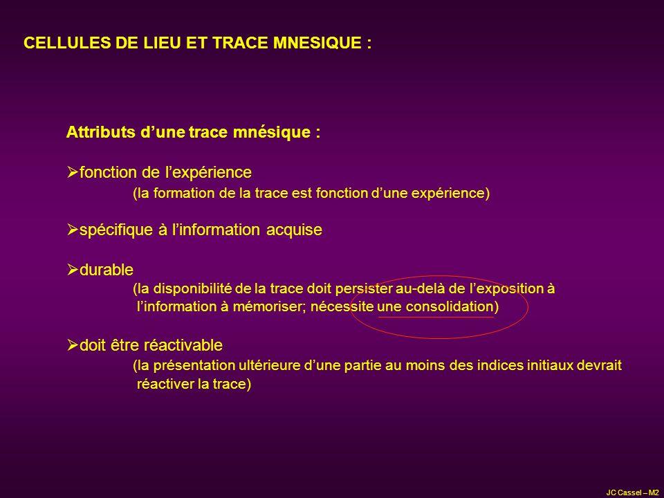 CELLULES DE LIEU ET TRACE MNESIQUE : Attributs dune trace mnésique : fonction de lexpérience (la formation de la trace est fonction dune expérience) s