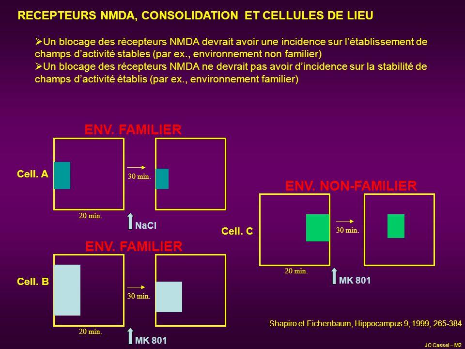 RECEPTEURS NMDA, CONSOLIDATION ET CELLULES DE LIEU Un blocage des récepteurs NMDA devrait avoir une incidence sur létablissement de champs dactivité s