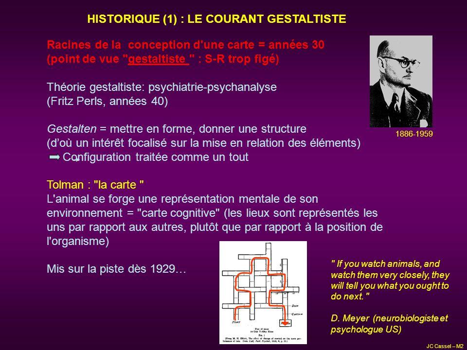 JC Cassel – M2 HISTORIQUE (2) : TOLMAN et LA CARTE Tâche du labyrinthe en « demi-soleil » Départ Arrivée -4 nuits consécutives (3 essais/nuit), puis Départ