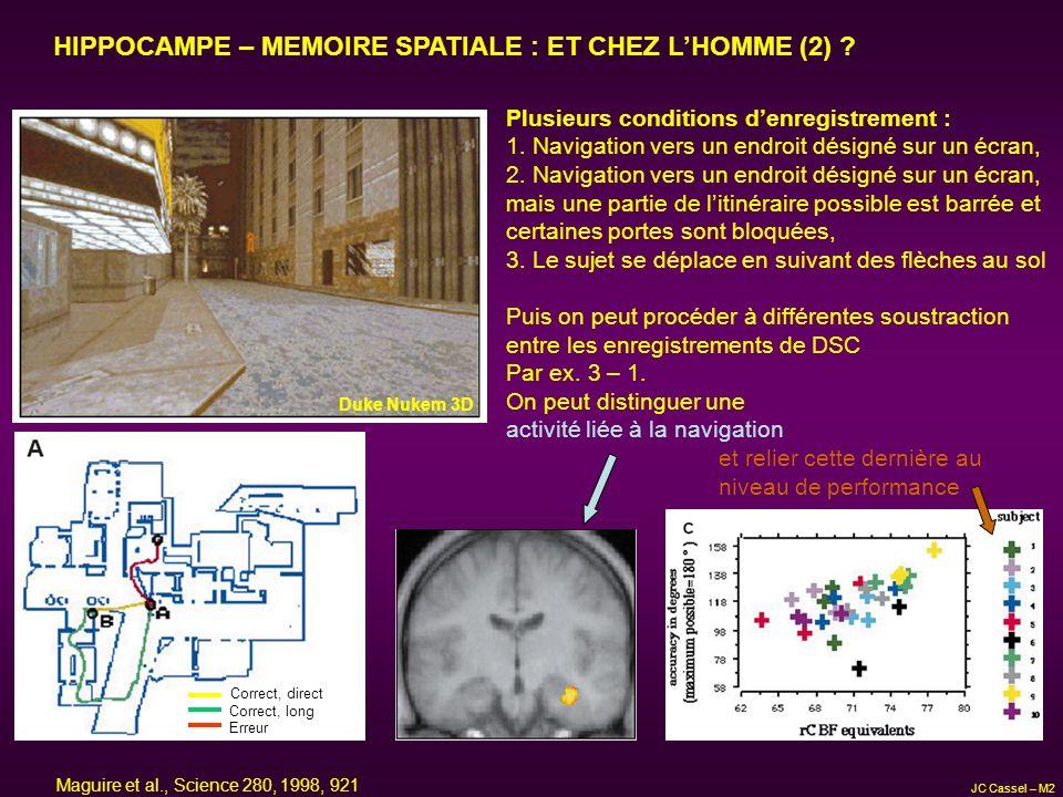 HIPPOCAMPE – MEMOIRE SPATIALE : ET CHEZ LHOMME (2) ? Duke Nukem 3D Correct, direct Correct, long Erreur Plusieurs conditions denregistrement : 1. Navi