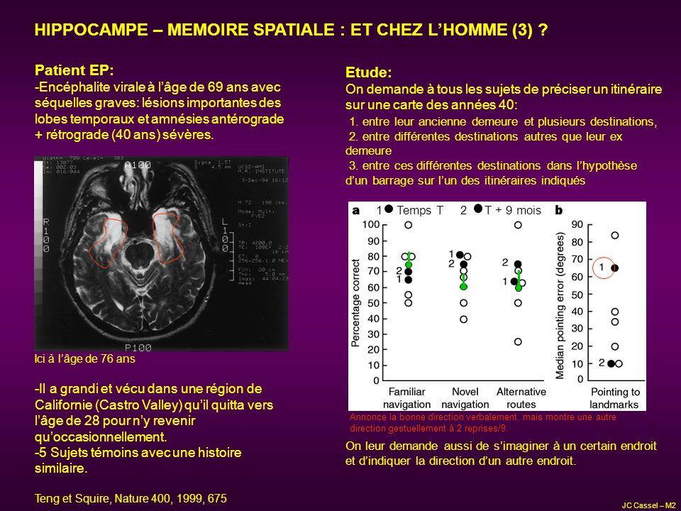 HIPPOCAMPE – MEMOIRE SPATIALE : ET CHEZ LHOMME (3) ? Patient EP: -Encéphalite virale à lâge de 69 ans avec séquelles graves: lésions importantes des l