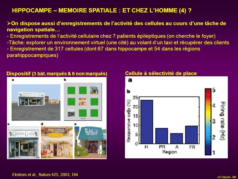 HIPPOCAMPE – MEMOIRE SPATIALE : ET CHEZ LHOMME (4) ? On dispose aussi denregistrements de lactivité des cellules au cours dune tâche de navigation spa