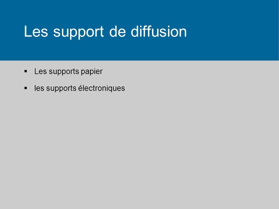 Les support de diffusion Les supports papier les supports électroniques