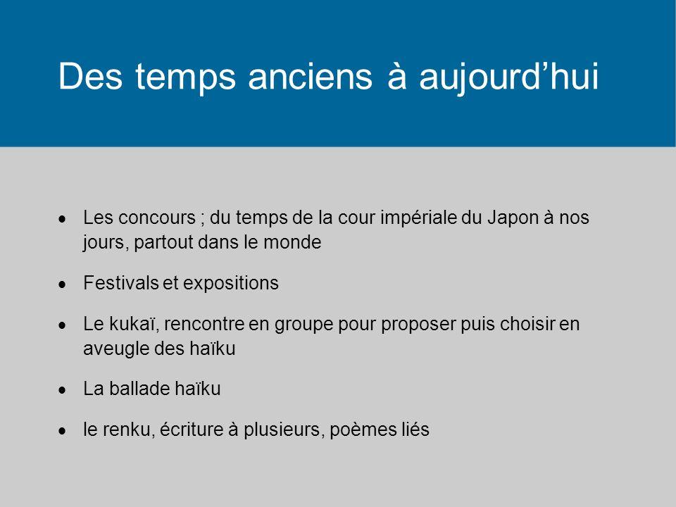 Des temps anciens à aujourdhui Les concours ; du temps de la cour impériale du Japon à nos jours, partout dans le monde Festivals et expositions Le kukaï, rencontre en groupe pour proposer puis choisir en aveugle des haïku La ballade haïku le renku, écriture à plusieurs, poèmes liés