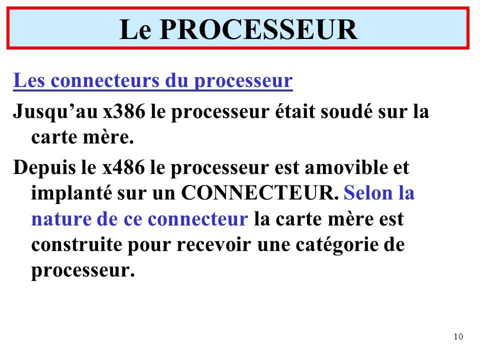 10 Les connecteurs du processeur Jusquau x386 le processeur était soudé sur la carte mère. Depuis le x486 le processeur est amovible et implanté sur u