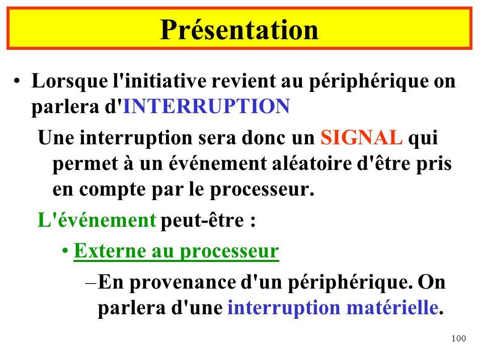 100 Lorsque l'initiative revient au périphérique on parlera d'INTERRUPTION Une interruption sera donc un SIGNAL qui permet à un événement aléatoire d'
