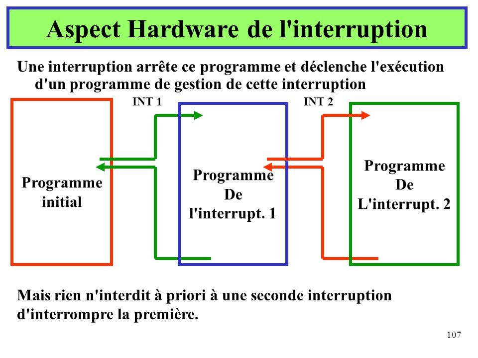 107 Une interruption arrête ce programme et déclenche l'exécution d'un programme de gestion de cette interruption Aspect Hardware de l'interruption Pr