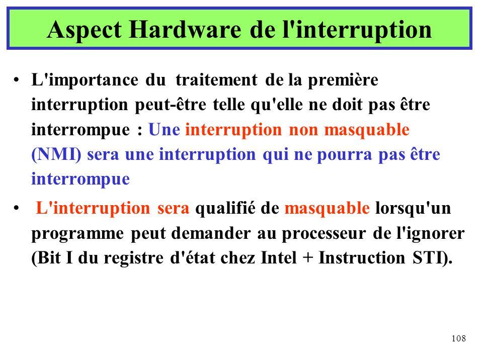 108 L'importance du traitement de la première interruption peut-être telle qu'elle ne doit pas être interrompue : Une interruption non masquable (NMI)