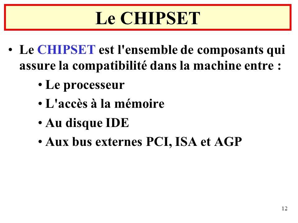 12 Le CHIPSET est l'ensemble de composants qui assure la compatibilité dans la machine entre : Le processeur L'accès à la mémoire Au disque IDE Aux bu