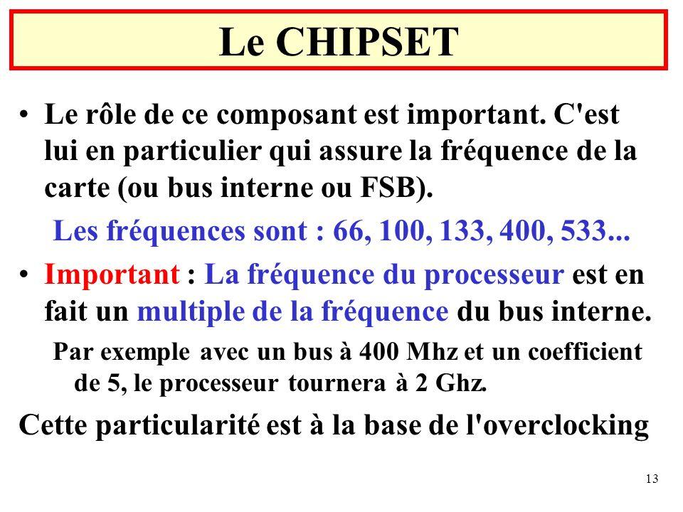 13 Le rôle de ce composant est important. C'est lui en particulier qui assure la fréquence de la carte (ou bus interne ou FSB). Les fréquences sont :