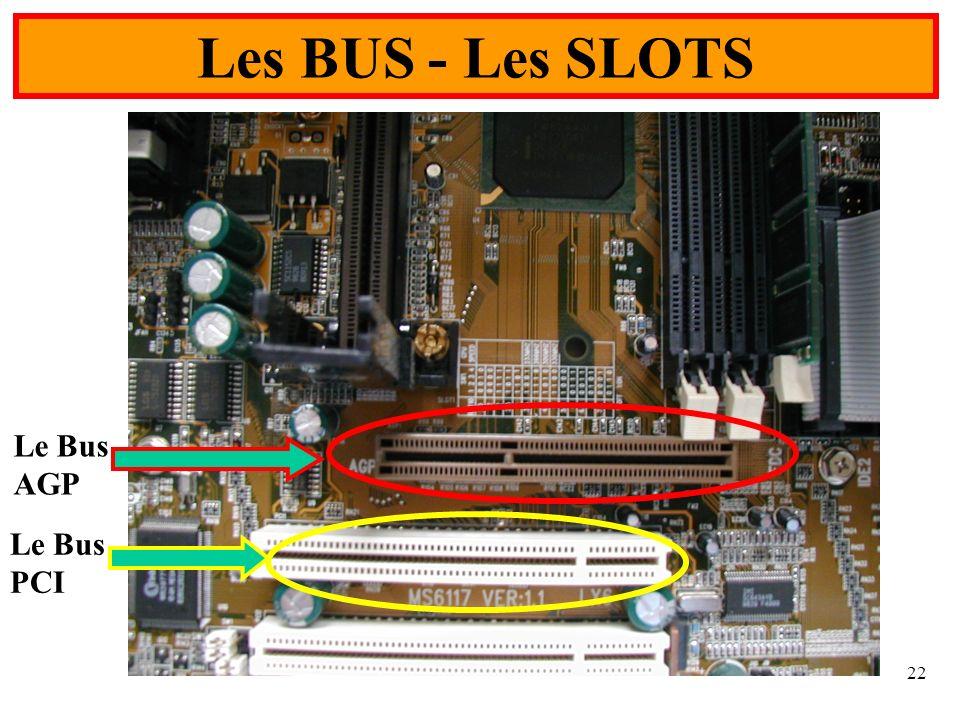 22 Les BUS - Les SLOTS Le Bus PCI Le Bus AGP