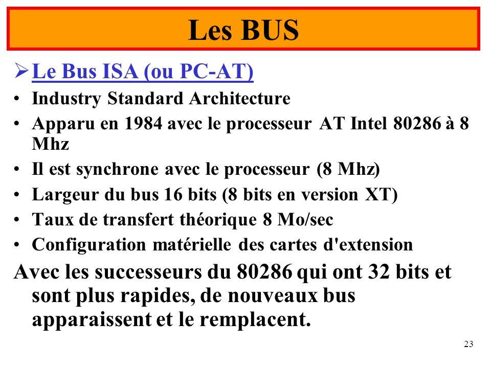 23 Le Bus ISA (ou PC-AT) Industry Standard Architecture Apparu en 1984 avec le processeur AT Intel 80286 à 8 Mhz Il est synchrone avec le processeur (