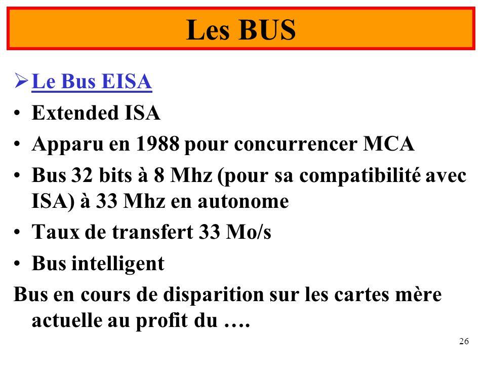 26 Le Bus EISA Extended ISA Apparu en 1988 pour concurrencer MCA Bus 32 bits à 8 Mhz (pour sa compatibilité avec ISA) à 33 Mhz en autonome Taux de tra