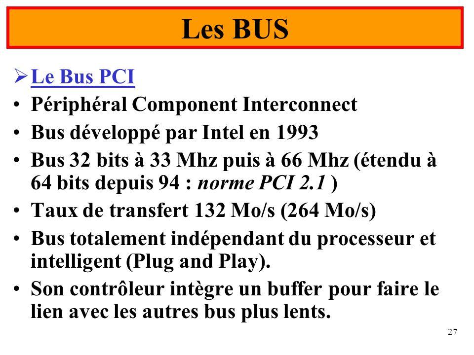 27 Le Bus PCI Périphéral Component Interconnect Bus développé par Intel en 1993 Bus 32 bits à 33 Mhz puis à 66 Mhz (étendu à 64 bits depuis 94 : norme