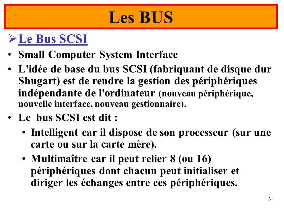 34 Le Bus SCSI Small Computer System Interface L'idée de base du bus SCSI (fabriquant de disque dur Shugart) est de rendre la gestion des périphérique