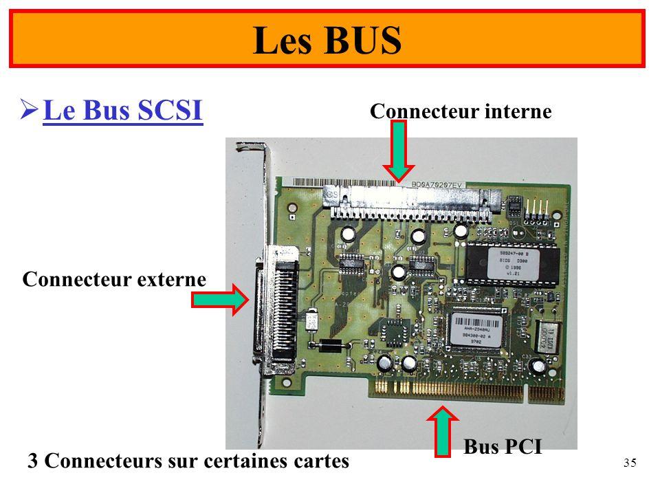 35 Le Bus SCSI Les BUS Connecteur externe Connecteur interne Bus PCI 3 Connecteurs sur certaines cartes