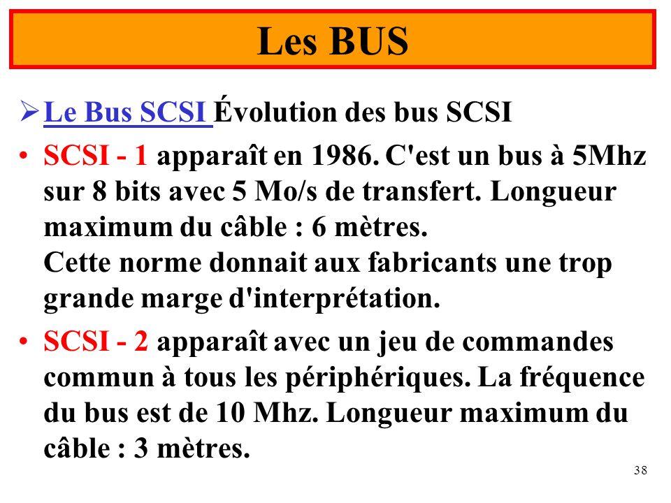 38 Le Bus SCSI Évolution des bus SCSI SCSI - 1 apparaît en 1986. C'est un bus à 5Mhz sur 8 bits avec 5 Mo/s de transfert. Longueur maximum du câble :