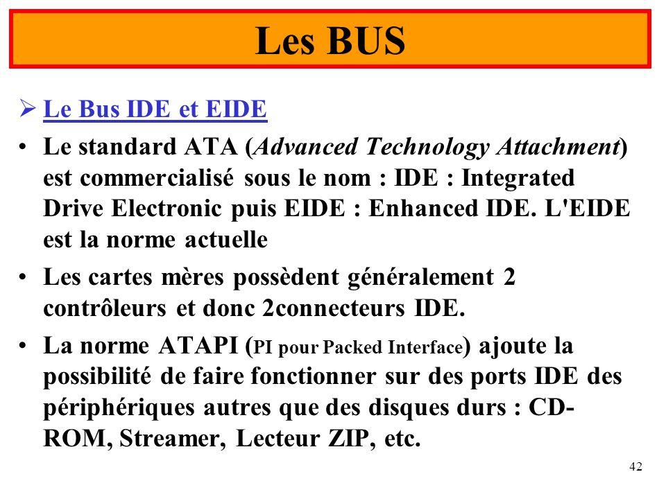 42 Le Bus IDE et EIDE Le standard ATA (Advanced Technology Attachment) est commercialisé sous le nom : IDE : Integrated Drive Electronic puis EIDE : E